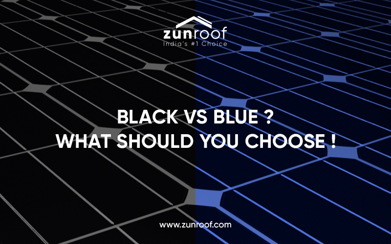 blue solar panels , black solar panels